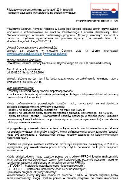 """Pilotażowy program """"Aktywny samorząd"""" 2014 moduł II - pomoc w uzyskaniu wykształcenia na poziomie wyższym"""