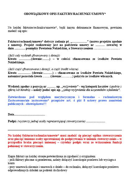 Obowiązkowy opis faktur/rachunku/umowy