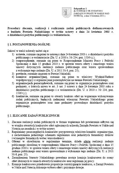 Procedury zlecania, realizacji i rozliczania zadań publicznych