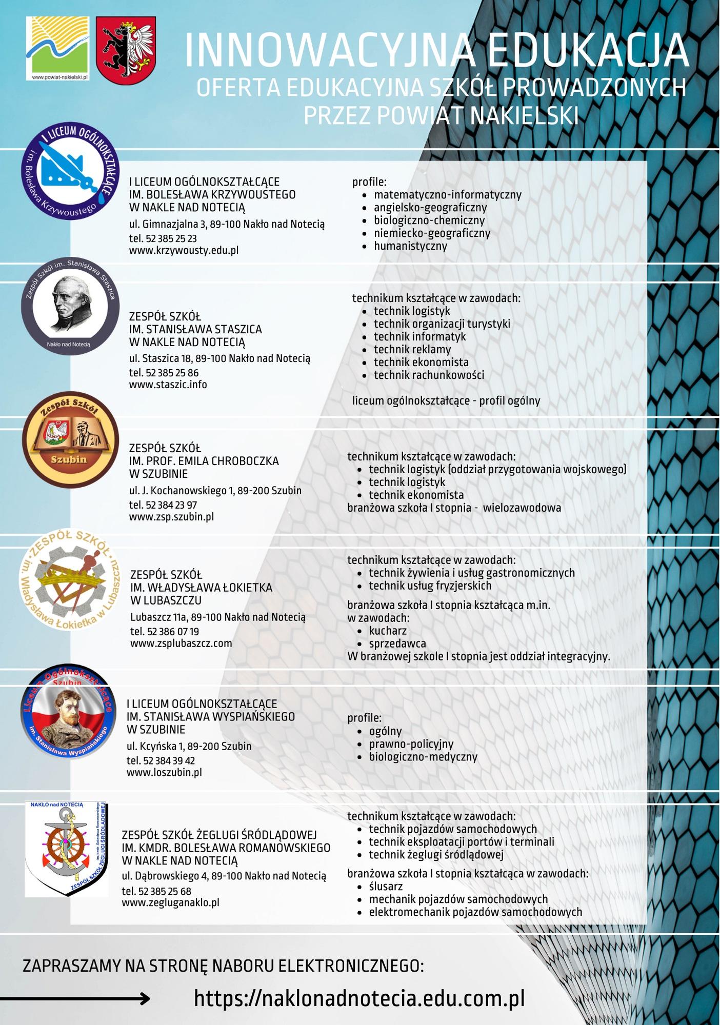 plakat z ofertą edukacyjną szkół ponadpodstawowych prowadzonych przez powiat nakielski