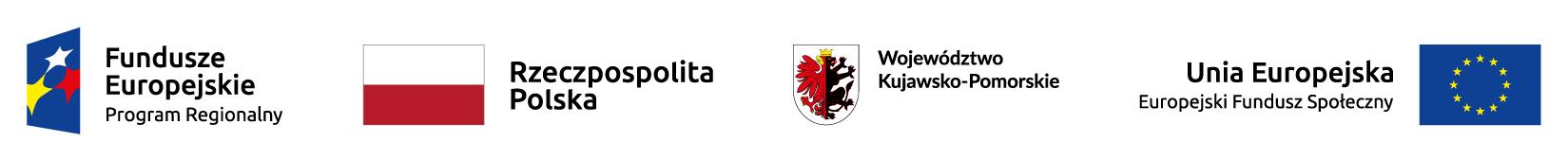 Logotypy Unii Europejskiej, Regionalnego Progeamu Operacyjnego Województwa Kujawsko Pomorskiego oraz Europejskich Funduszy Społecznych