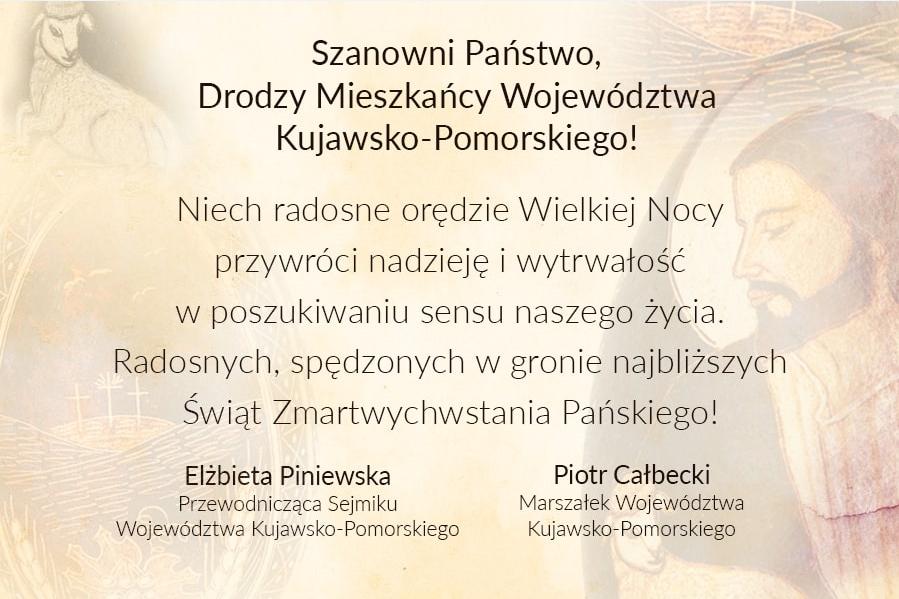 Życzenia Wielkanocne przewodniczącej sejmiku województwa Elżbiety Piniewskiej i marszałka województwa Piotra Całbeckiego