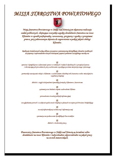 Misja Starostwa Powiatowego w Nakle umieszczona w formie graficznej