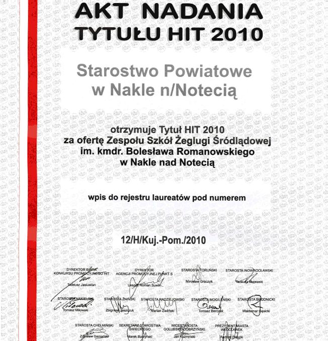 Akt Nadania Tytułu Hit 2010