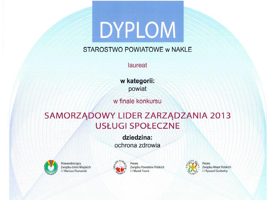 Dyplom - Starostwo Powiatowe w Nakle